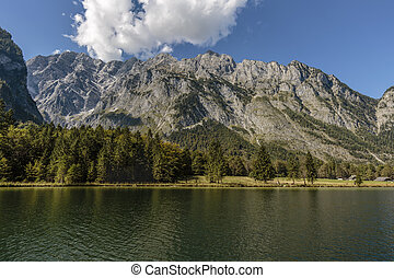 view over koenigssee to Watzmann mountain chain