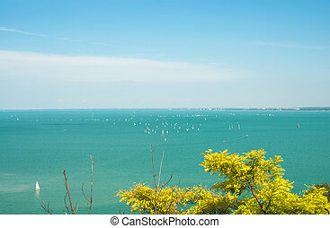 View over lake Balaton in Tihany, Hungary