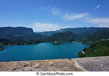 View over lake Bled from Bled castle