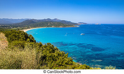 east coast of Corsica - View over Losari beach on North east...
