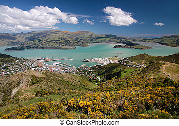 View over Lyttelton from Port Hills, Christchurch, ...