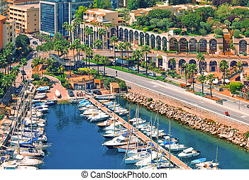 View over Monaco harbour from the viewpoint, Cote d'Azur, France