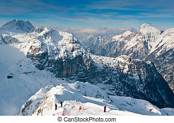 View over mount Bilapec, Canin and Montasio mountains, Sella Nevea, Friuli, Italy