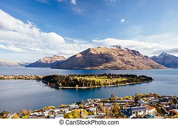 View over Queenstown and Cecil Peak in New Zealand