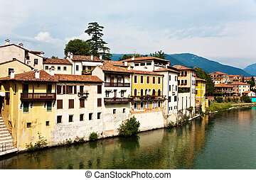 view over river Brenta in old village Basano del Grappa in Italy