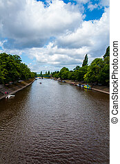 View over River Ouse and bridge in the city of York, UK.