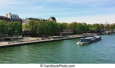 View over river Seine in Paris, France, travel and ...