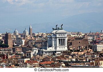 Digital photo of the skyline of Rome with the famous monument Vittorio Emanuele II.