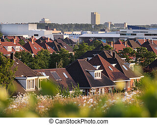 View over roofs of modern suburb, The Hague, Netherlands