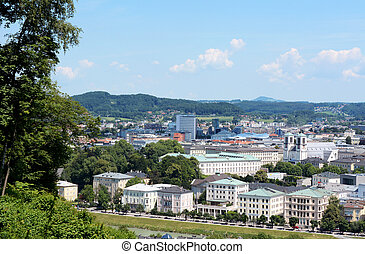 View over Salzburg city in Europe