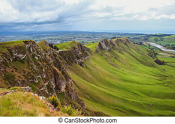 View over scenic green valley from Te Mata Peak near ...