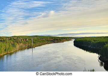 View over Skellefte river in Lapland, Sweden