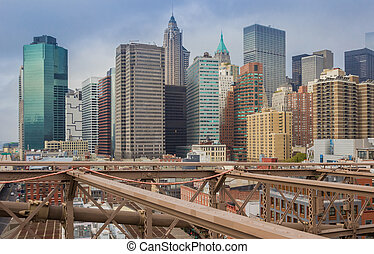 View over skyscrapers from the Brooklyn bridge in New York City