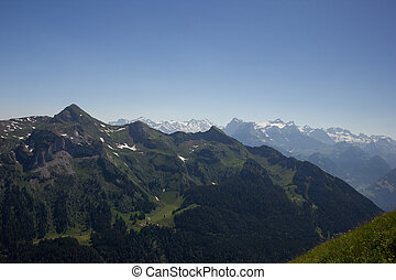 view over swiss mountains on a sunny day