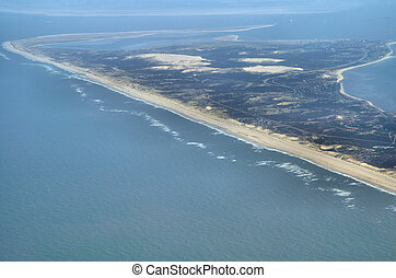 View over Sylt - Air view of the island Sylt in the north ...