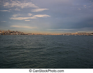 View over the Bosporus in Istanbul with bridge
