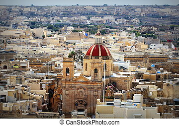 View over the city of Victoria or Rabat at Gozo, the neighboring island of Malta