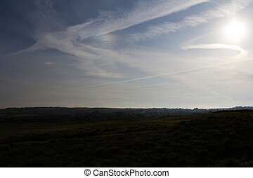 View over the Cornish countryside with low light