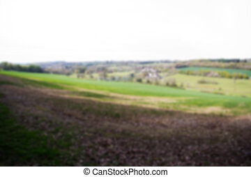 View over the countryside in the Chilterns Out of focus.