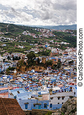 View over the Kasbah of Chefchaouen, Morocco