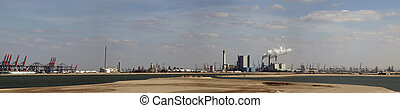 view over the maasvlakte rotterdam netherlands