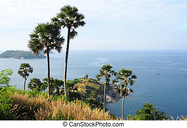 View over the ocean at Promthep Cape, Thailand - viewpoint...