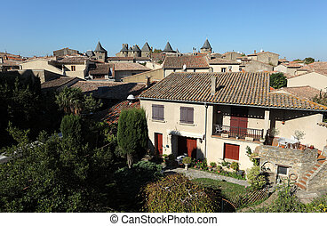 View over the old town of Carcassonne, France