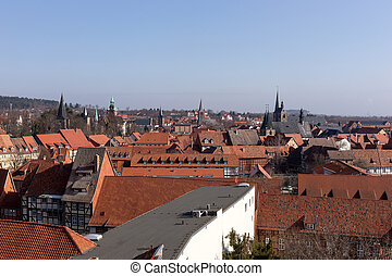 View over the old town of Quedlinburg