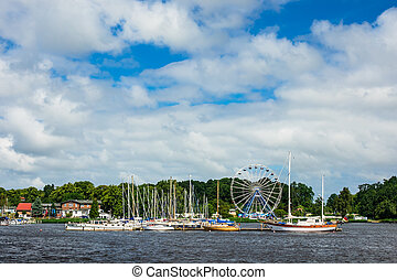 View over the river Warnow in Rostock, Germany