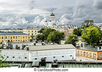 View over the rooftops and the Cathedral in Helsinki Senate...