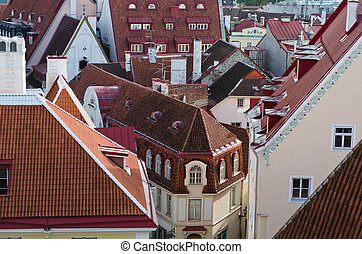 View over the rooftops of Tallinn, close-up
