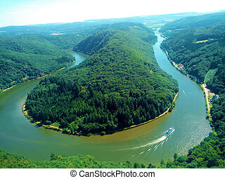 View over the Saar loop near Mettlach, Germany