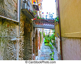 View over the street in Taormina, Sicily, Italy, Europe