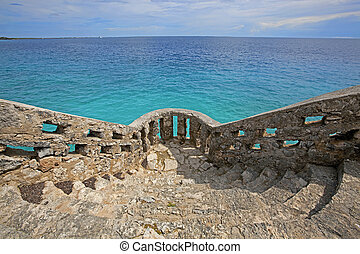 View over the turquoise water on Bonaire