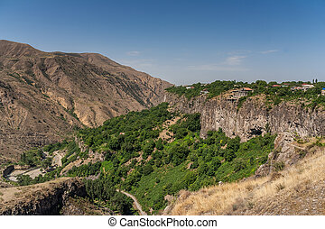 View over the valley in the Armenian village Garni