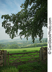 View over wooden gate across the English Countryside