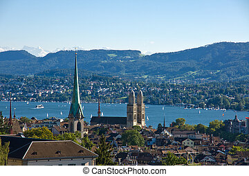 View over Zurich with the alps in the back