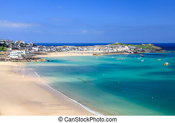 St Ives Cornwall England UK - View overlooking Porthminster...
