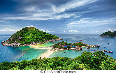 Nang Yuan and Tao island - View point from top of mountain ...