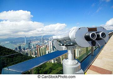 View point with telescope near hongkong,china