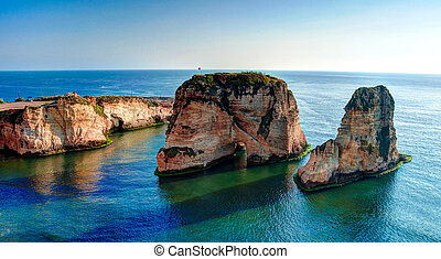 View Raouche or Pigeon Rock, Beirut Lebanon