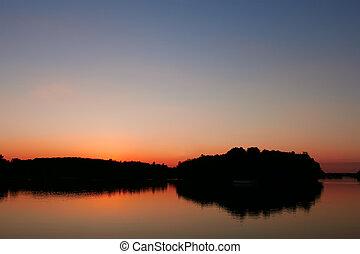 View reservoir after sunset