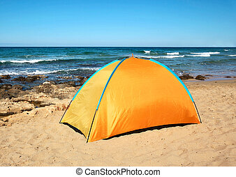 View sea, camping tent on summer beach