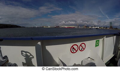 View shot out of the boat passenger ferry, 4K - View shot...