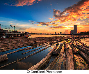 View sunset landscape at Pile of wood be immersed in water