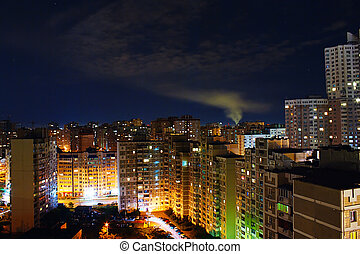 View the big city at night with lights