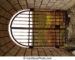 View through a Door Grating of the Shumen Fortress, Bulgaria