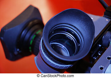 view through a lens - eyepiece on a television camera