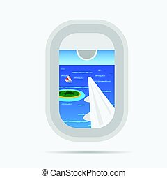 view through airplane window on the paradise sea illustration