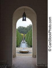 view through bow in english garden